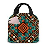 Yuanmeiju Ancient Pattern Geometric Ethnic Abstract Aztec Border Tribal Folk African Stylish Lunch Bag for Women and Teen Girls Cute Insulated Lunch Box for Work School Travel