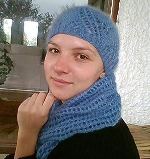 Conjunto de gorro y bufanda, color azul, de mohair, talla única, para chica o mujer