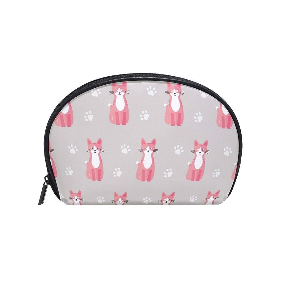 デイジー地球排除半月型 猫動物ピンクグレーホワイト 化粧ポーチ コスメポーチ コスメバッグ メイクポーチ 大容量 旅行 小物入れ