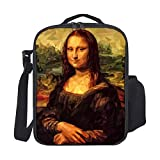 SARA NELL Kids Lunch Box Insulated Low Poly Mona Lisa Vector Image Lunch Bag Large Lunch Boxes Cooler Meal Prep Lunch Tote with Shoulder Strap for Boys Girls Teens Women Adults