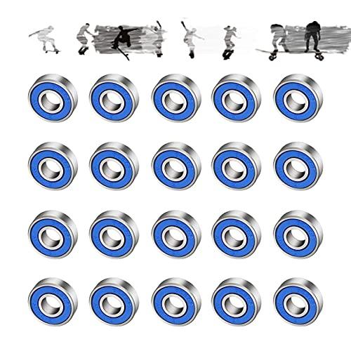 JOLIGAEA 20 Stück Kugellager 608RS, ABEC-9 Rillenkugellager Kohlenstoffstahl Miniatur Rollenlager mit Double Shielded für Skateboard, Roller, Inline Skates(8mm x 22mm x 7mm)