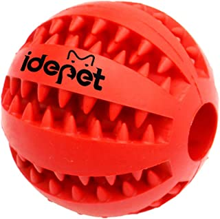 Idepet Dog Toy Ball, Nontoxic Bite Resistant Toy Ball for Pet Dogs Puppy Cat, Dog Food Treat Feeder Tooth Cleaning Ball,Do...