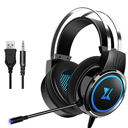 Auriculares con cable PC gamer estéreo plegable auricular flexible ajustable micrófono auricular para ordenador portátil/PC/móvil Chica Regalo 2Jack