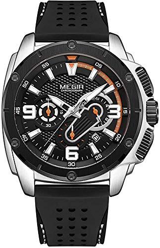 MEGIR Hombres Ejército Relojes Deportivos Cronógrafo Reloj De Cuarzo Hombre Moda Impermeable Luminoso Silicona Banda Reloj De Pulsera Hombre