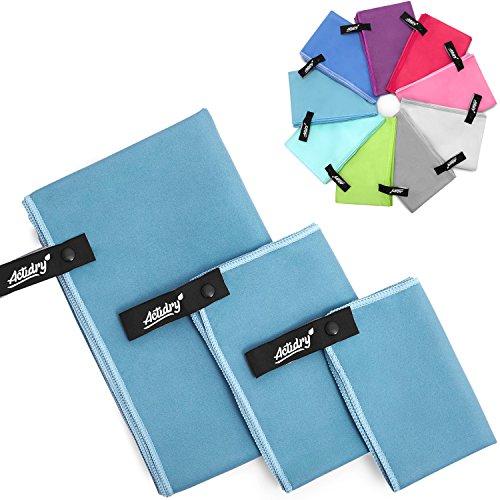 Mikrofaser Handtücher - 3 Stück: 70 x 140, 40 x 60 und 30 x 40 cm [Blau] Camping, Reise, Wandern, Sport, Kinder | leicht schnelltrockend und hochsaugfähig | 9 Farben