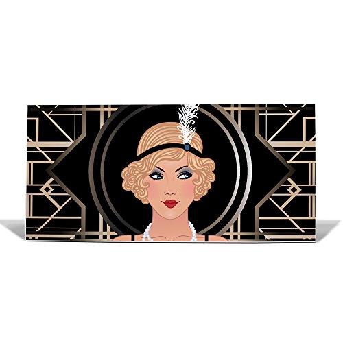 banjado Design Magnettafel weiß | Wandtafel magnetisch 37x78cm groß | Metall Pinnwand | Memoboard mit Magneten und Montageset | Motiv Flapper Girl