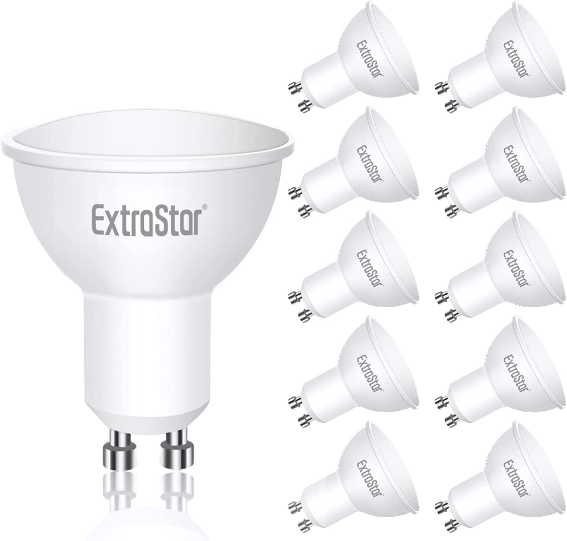 EXTRASTAR Bombillas LED GU10 5W, 400 Lúmen, Luz Frío 6500K, Equivalente a 40 W Halógena, No regulable, Paquete de 10