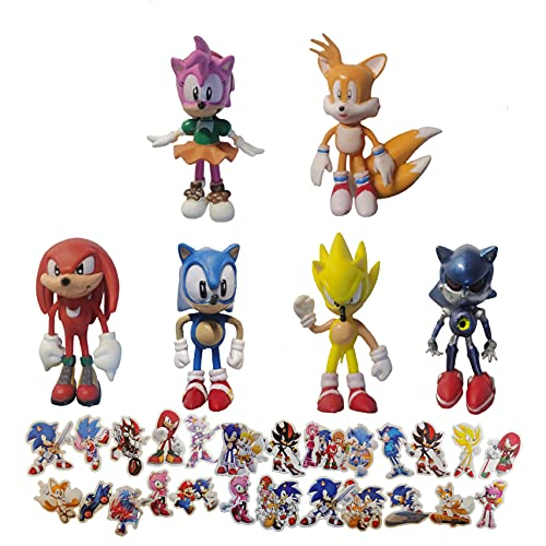 Pequeña figura de Sonic 6pcs/lot 1.5inch Sonic hedgehog cake decoration birthday party supplies decoration