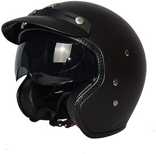 MTTKTTBD Half Motorcycle Helmet DOT Approved Open Face Motorbikes Helmet with Built-in Sun Visor Retro Motorcycle Cap for Mofa Crash Moped Scooter Cruiser