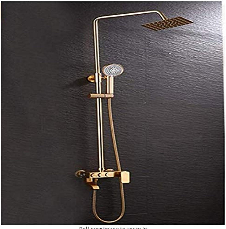 FuweiEncore Raum-Aluminium-Antike-Goldene Dusche stellte alle anhebende lokale Golddusche Wand-InsGrößetions-Duschen-Regen, Temperaturüberwachung EIN (Farbe   -, Gre   -)