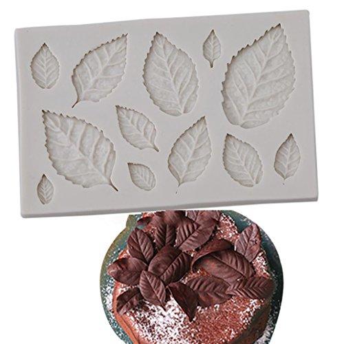 kangql a forma di foglia stampo in silicone per decorazioni torte biscotti al cioccolato fondente cottura Tool–bianco