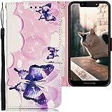 CLM-Tech Hülle kompatibel mit Motorola Moto G7 Play - Tasche aus Kunstleder - Klapphülle mit Ständer & Kartenfächern, Schmetterlinge rosa weiß