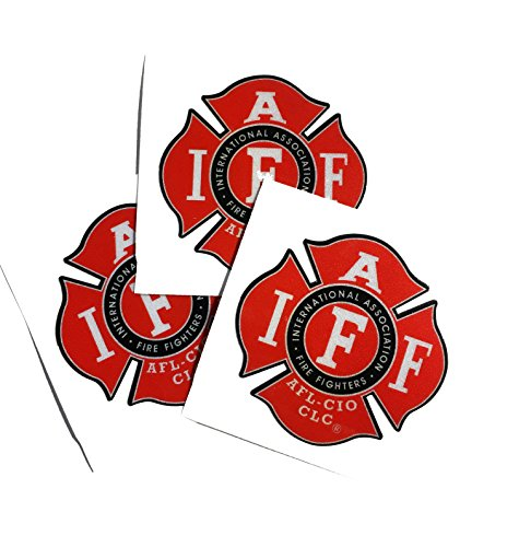 "Three Pack 2"" Reflective Helmet Iaff Union True Red 3m Vinyl Firefighter Us Made Decal Sticker"