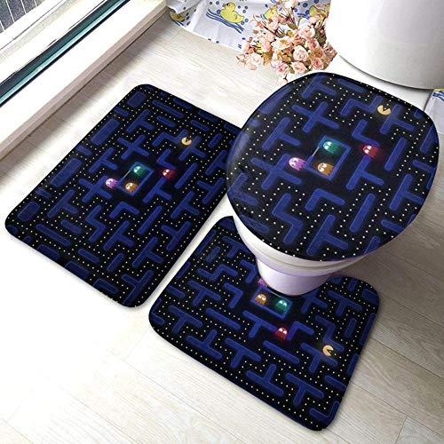 HNFY Alfombra de baño Laberinto 3D Impreso Juego de 3 Piezas Alfombras de Baño Alfombrilla de Baño WC Tapas de Inodoro Cubiertas de Cisterna Decoraciones