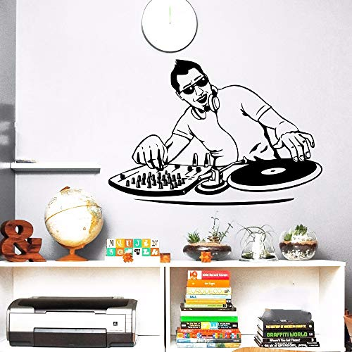 AIPIOR Nachtclub Wandaufkleber Vinyl Music Boy DJ Mixer Wandtattoo Music Player Wand Poster Music Club Decor Home Musik Aufkleber 57x39cm