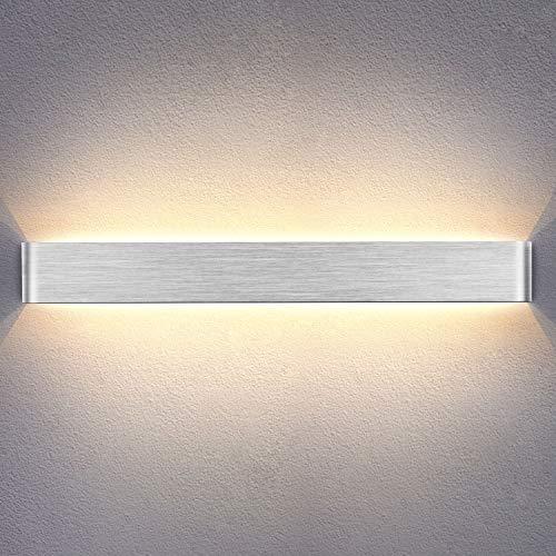 Yafido Wandleuchte Innen LED 90CM Wandlampe Up Down Wandbeleuchtung Silber Gebürstet Wandlicht 30W Warmweiß 3000K für Schlafzimmer Wohnzimmer Flur Treppen