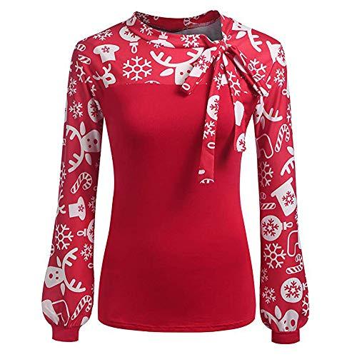 Damen Weihnachten Pullover, Winter Warme Laternen Oberteile Legerer Bogen Print Stitching Bluse Fashion Sweatshirt Langarm Santa Gedruckt Hemd(Rot,EU-42/CN-XL