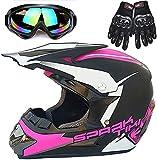 Nothers Casco de motocicleta para jóvenes, Powersports para motocicleta masculina y femenina para adultos ATV MX, estándar de certificación ECE, cuatro estaciones (C,grande)