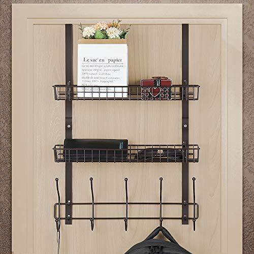 Over The Door Hook with 2 Baskets 5-Hook Coat Rack Bathroom Door Organizer for Bedroom Pantry Laundry Kitchen Dark Brown