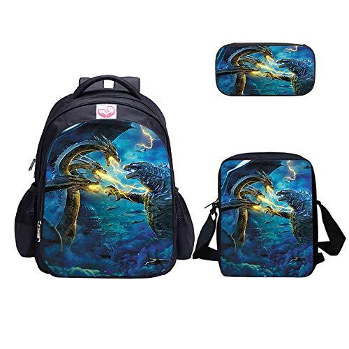 Mochila de dinosaurio y bolsa de almuerzo para niños, mochila de hombro estuche - negro -