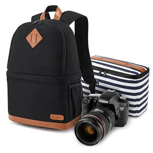 Kattee Women's Canvas SLR DSLR Camera Case Backpack 14' Laptop Bag (Black, Small)