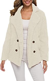 Macondoo Women Thickened Button Plush Plus Size Lapel Collar Coat Jackets