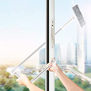 2 in 1 Window Squeegee with Scrubber Up to 81 Inch Length Adjustable, Telescopic Squeegee Window Cleaner for Shower Doors,...