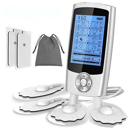 ESSEASON TENS ElectroestimuladorMuscular Digital Masaje - EMS Estimulador Muscular Recargable 16 Modos 2 Canales 6 Pads Masajeador Portatil paradolor espalda rigidez muscular