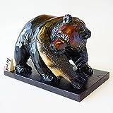 木彫熊 [鮭咥え]10号 佐藤憲治 作