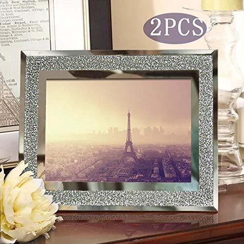 TRJGDCP Fotolijstjes 4x6 glazen frame met zilveren fotolijsten set Home Decor tabel ornamenten Set 2-delig