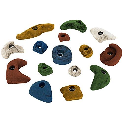 ALPIDEX 15 Klettergriffe Klettersteine, je 5 Griffe in den Größen L, M und S - Farbe:bunt