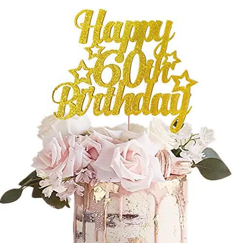 JeVenis Gold Glitter Happy 60. Geburtstagstorte Topper 60 Geburtstagstorte Topper 60. Geburtstagstorte Dekoration