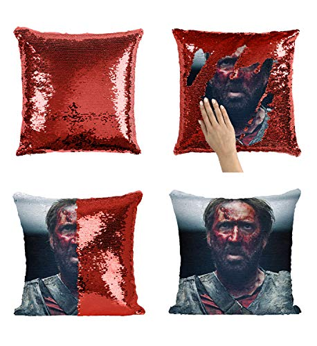 Nicolas Cage Covered In Blood_MA0270 Sequins 16x16 Pillow Cover with 18x18 Inch Insert Girly Stuff Boys Xmas Present (Cover + Insert)