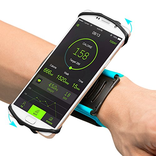 VUP iPhone Running Armband 180° Rotatable for Jogging Cycling Gym for iPhone 7 Plus/ 6S/ 6/ 5S Samsung S7 S6 edge/Galaxy S5 for 4'' to 5'' Phones Sports Wristband Phone Holder(Blue)
