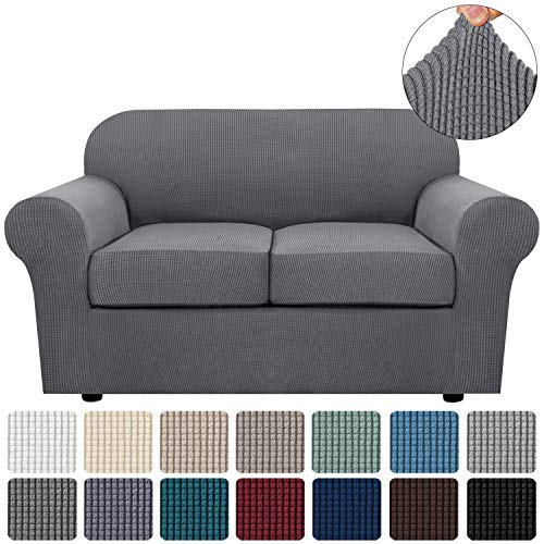 3 Piece Stretch Sofa Covers for 2 Cushion Couch Loveseat Covers for Living Furniture Slipcovers (Base Cover Plus 2 Seat Cushion Covers) Feature Upgraded Thicker Jacquard Fabric (Loveseat, Grey)