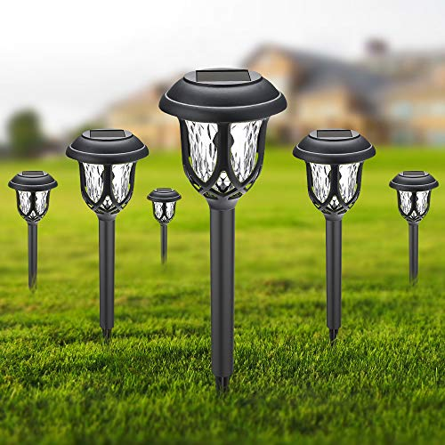 Solar Garden Lights - LED Solar Path Lights,Double Waterproof,20-25 Lumens,Outdoor Solar Torch Lights for Dusk-Dawn Landscape Decoration Light for Garden, Pathway, Driveway (6 Pack)