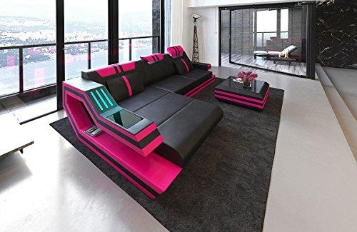 Slaapbank Ravenna L leer zwart roze