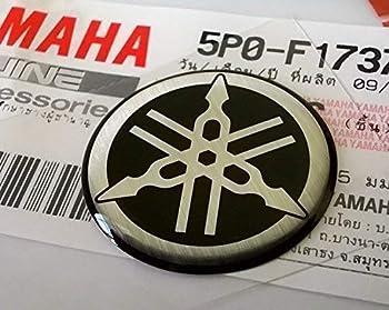 Yamaha 5P0-F1737-00 - Genuine 25MM Diameter Yamaha Tuning Fork Decal Sticker Emblem Logo Silver/Black Raised Domed Gel Resin Self Adhesive Motorcycle/Jet Ski/ATV/Snowmobile