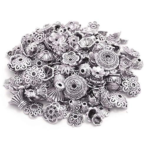 BronaGrand 160-210pcs Bali Style Jewelry Making Metal Bead Caps Deluxe New Mix, 100 Gram,Tibetan Silver