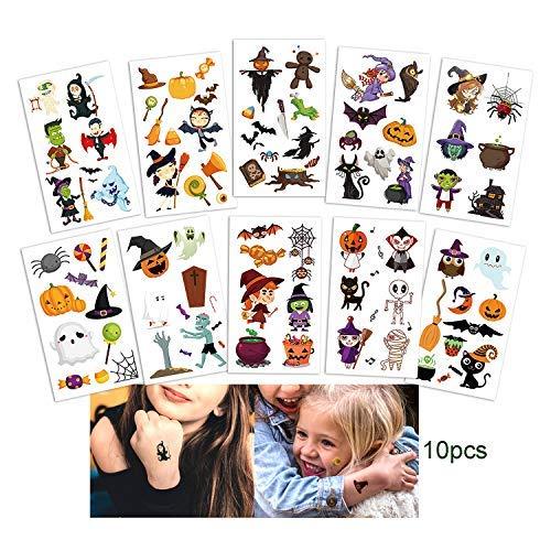 JEEZAO Pegatinas de Tatuaje de Halloween, Pegatinas de Tatuaje de Dibujos Animados para Niños 10 Hojas (Type 1)
