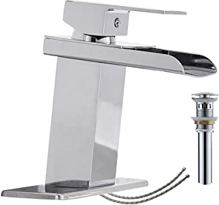 Bathlavish Bathroom Faucet Chrome Waterfall Vanity Sink Basin Single Hole One Handle with Pop Up Drain Lavatory Mixer Tap With Overflow Supply Line Lead-Free