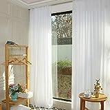 ShinyBeauty Cortinas de gasa con 2 paneles, 29 x 108 pulgadas, tela de gasa transparente, paneles de gasa para boda, cortina de telón de fondo de gasa blanca, cortinas de fondo de poliéster blanco