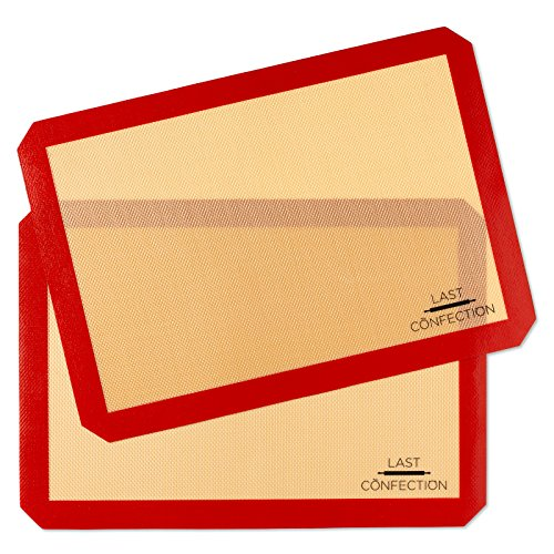 Last Confection Silicone Baking Mat - Set of 2 Non-Stick Half Sheet (11-5/8' x 16-1/2') Professional Food Safe Tray Pan Liners
