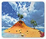 Drempad Gaming Mauspads, Island Mouse Pad, Tropical Island and Palms Cloudy Flowers Stones Summer Sky Holiday Seascape, Standard Size Rectangle Non-Slip Rubber Mousepad, Blue Mustard Green