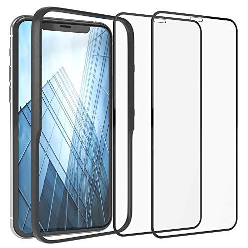 EAZY CASE 2x Panzerglas Folie mit Rand kompatibel mit Apple iPhone X/XS / 11 Pro, Full-Screen Displayschutz mit Installationshilfe, Schutzglas 5D, 9H, Anti-Kratzer, selbstklebende Glasfolie