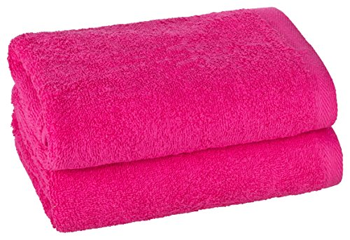 PremiumShop321 2er Set Handtuch P.K.-Collection 50x100 500g/m² ohne Bordüre-pink
