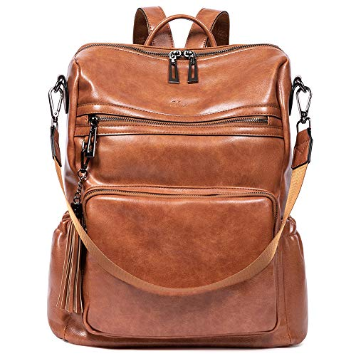 Backpack Purse for Women Fashion Two Toned Leather Designer Travel Large Ladies Shoulder Bags with Tassel brown