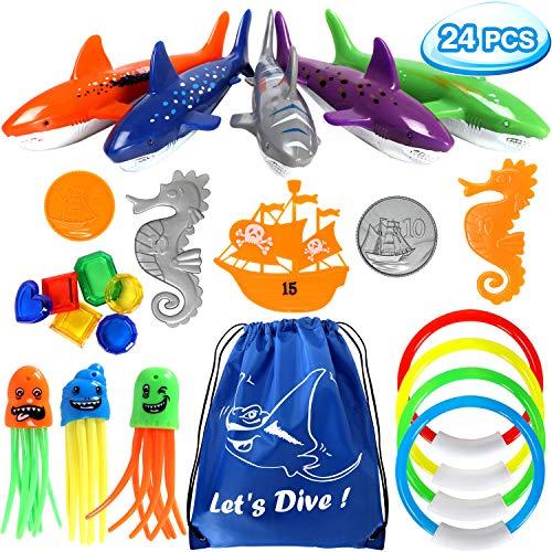 vamei 24 Stück Tauchspielzeug für Kinder Unterwasser Pool Spielzeug Set Tauchringe Hai Torpedo Bandits Piratenschiff Krake Seepferdchen Sommer Tauchen Lernen Schwimmbad Spielzeug mit Tragetasche