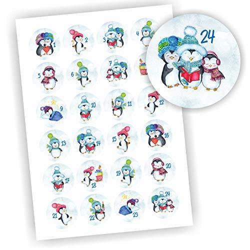 Play-Too 24 Aufkleber Adventskalender Zahlen Fest Weihnachten Aufkleber Sticker DIY EIS Schnee Pinguin