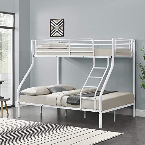 [neu.haus] Kinder Etagenbett - Weiß - 200x140/90cm Kinderbett Stockbett Hochbett Metall Bettgestell